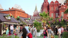 People on Festival Moscow jam near Red square Stock Footage