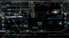 Caucasian American business female using futuristic table touchscreen technology - stock footage