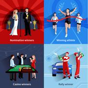 Winning Icons Set - stock illustration