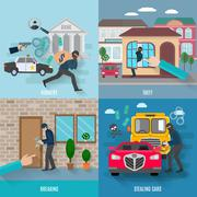 Stealing Icons Set - stock illustration