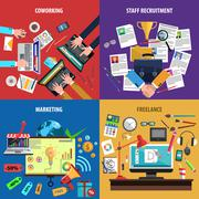 Freelance flat icons banner square - stock illustration