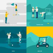 Golf Flat Set Stock Illustration