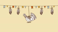 Thanksgiving day background with hand drawn corn, turkey, seamless loop Stock Footage