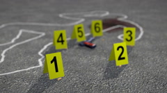 Crime Scene with Crime Scene Markers Stock Footage
