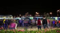 Timelapse of Palace bridge at summer night, St Petersburg, Russia Stock Footage
