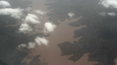 Flying over water bodies in the jungle Stock Footage