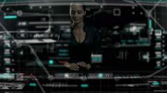Caucasian USA business female using futuristic table touchscreen technology - stock footage