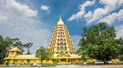 Wat Tha It pagoda gold contemporary beauty, AngThong, Thailand. Stock Footage