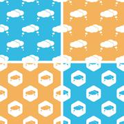 Thought bubbles pattern set, colored - stock illustration
