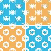 Stock Illustration of Dishware pattern set, colored