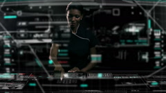 African American business female using futuristic table touchscreen technology - stock footage