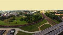 City traffic, railroad. aerial footage Stock Footage
