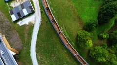Arial footage of train on the railroad. Empty train from the top Stock Footage