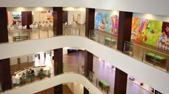 Gorky Gorod Mall is five-level multi-functional shopping center Stock Footage