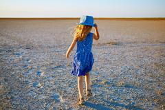 girl in the desert - stock photo