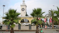 Railway station and palm trees. Station building was built in 1952 - stock footage