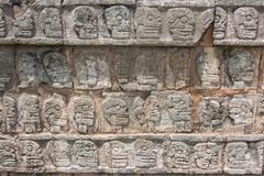 Relief sculpture of Tzompantli the platform of the skulls - stock photo