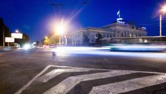 Stock Video Footage of Night time-lapse video of cross-roads near train station in Odessa, Ukraine