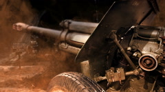 Old cannon on the battlefield Stock Footage