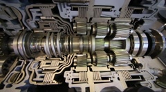 Modern big difficult shiny transmission for bus at exhibition Stock Footage