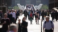 Crowd of people in London (Millennium Bridge), London, England, Europe Stock Footage