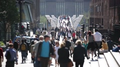 Crowd, London, Millennium bridge, England, EU, GB, UK - stock footage