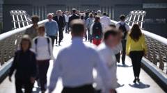 Crowd in England, Millennium Bridge Stock Footage