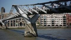 Millennium Bridge from the side, London Stock Footage
