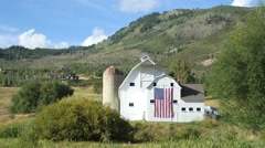 Barn and flag front mid shot Stock Footage