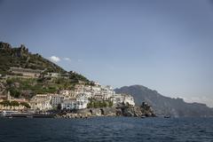 Landscape of Amalfi coast in italy. - stock photo