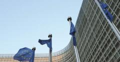 European Commission with European Union Flags waving Stock Footage