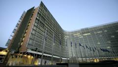 European Commission building and excavator Stock Footage