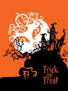 Boo Trick Or Treat card design - stock illustration