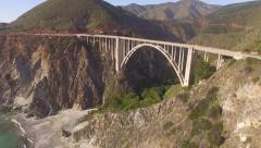 California Coastline-Highway 1 Bixby Bridge Aerial Stock Footage