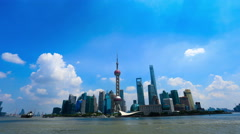 Shanghai,China-September 7,2015:Timelapse of Shanghai skyline in a sunny day - stock footage