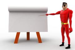 3d superhero teach on board with paper slide concept - stock illustration