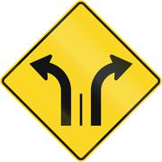 Two Lanes With Right And Left Turn Lane in Canada - stock illustration