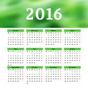 Calendar 2016 template design with header picture starts monday Stock Illustration