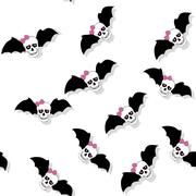 Scattered skulls with pink bow and bat wings. Seamless pattern Stock Illustration