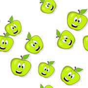 Seamless pattern with smiling apples on white - stock illustration