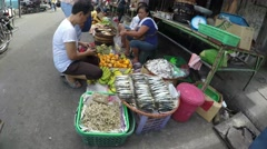 Vegetable street selling Stock Footage