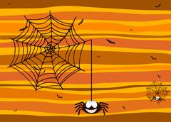 Halloween background with smiling spider, spiderweb and bats Stock Illustration