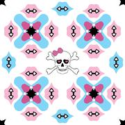 Seamless ornate pattern with skull design - stock illustration