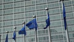 European Commission flags in slow motion Stock Footage