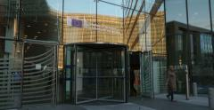 European Commission entrance of Charlemagne building Stock Footage
