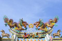 Chinese Dragon and blue sky. Stock Photos