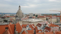 View of the roofs and Frauenkirche dome in Dresden, Germany Stock Footage