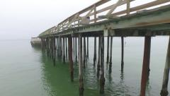 Ship Wreck-Beach-Pier Stock Footage