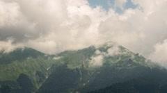 Mountainside in clouds. Zoom. Ridge Aibga, Time Lapse. Krasnaya Polyana, Sochi, Stock Footage