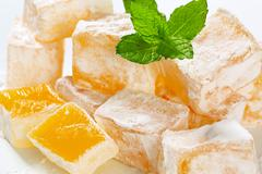 Greek loukoumi (Turkish delight) with delicious Mastic flavor Stock Photos